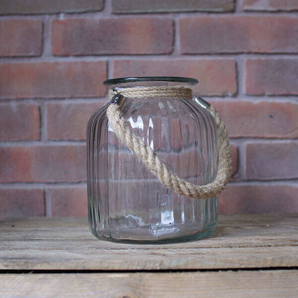 for hire: large glass vase with hessian rope
