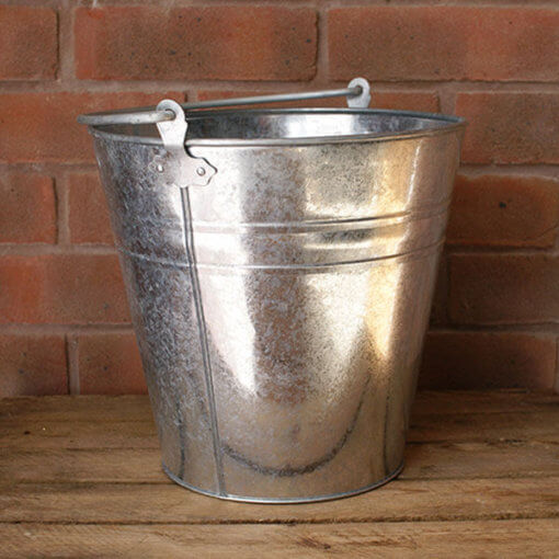 Large metal bucket for hire that can be used for flowers or displaying sweets at weddings - My Vintage Flower UK